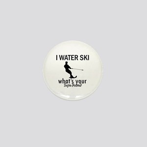 I Water Ski Mini Button