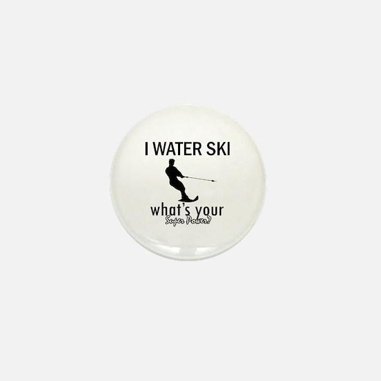 I Water Ski Mini Button