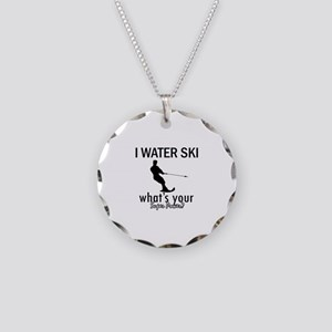 I Water Ski Necklace Circle Charm