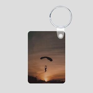 Aluminum Photo Keychain with Sunset Skydiver