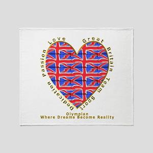 Great Britain Heart Throw Blanket