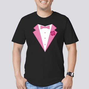 Funny Pink Tuxedo Men's Fitted T-Shirt (dark)