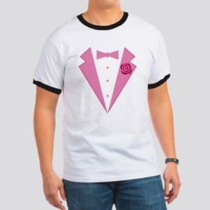 Funny Pink Tuxedo Ringer T