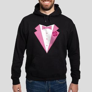 Funny Pink Tuxedo Hoodie (dark)