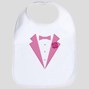 Funny Pink Tuxedo Bib