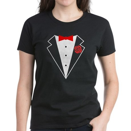 Funny Tuxedo [red bow] Women's Dark T-Shirt