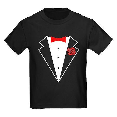 Funny Tuxedo [red bow] Kids Dark T-Shirt