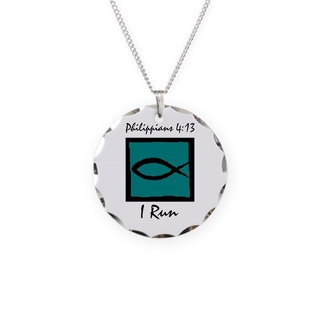 Christian Runner's Necklace Circle Charm