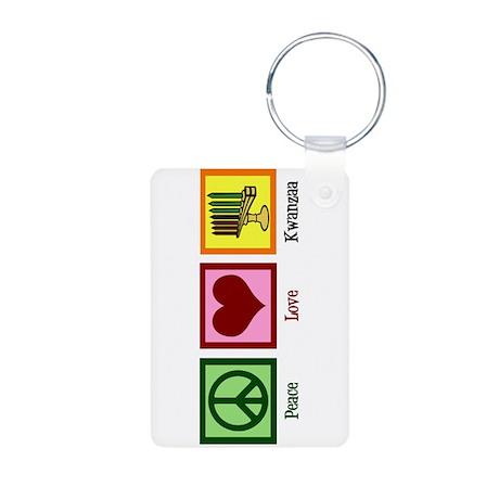 Peace Love Kwanzaa Aluminum Photo Keychain