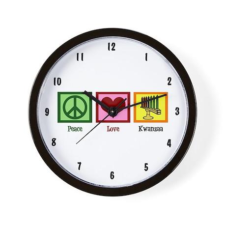 Peace Love Kwanzaa Wall Clock