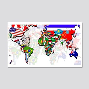 World Flags Map 20x12 Wall Decal
