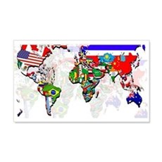 World Flags Map Wall Decal