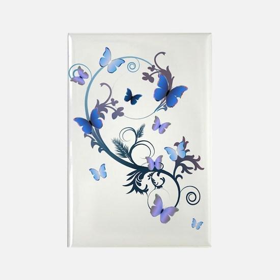 Blue Butterflies Rectangle Magnet