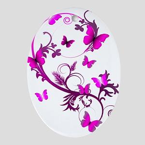 Bright Pink Butterflies Ornament (Oval)