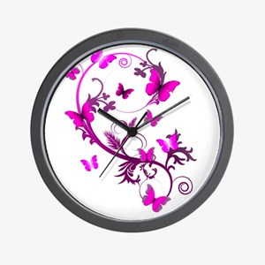 Bright Pink Butterflies Wall Clock
