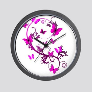 Bright Pink Butterflies Wall Clock