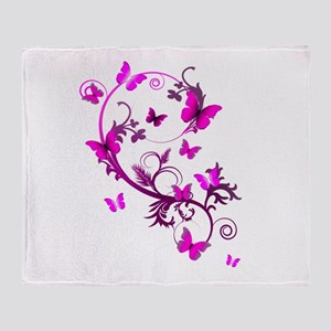 Bright Pink Butterflies Throw Blanket