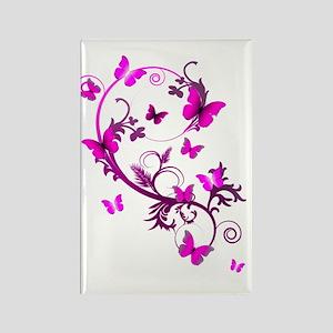 Bright Pink Butterflies Rectangle Magnet