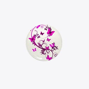 Bright Pink Butterflies Mini Button