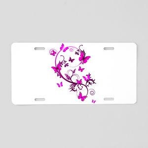 Bright Pink Butterflies Aluminum License Plate