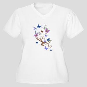 Blue & Purple Butterflies Women's Plus Size V-Neck