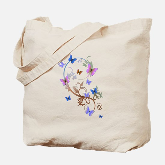 Blue & Purple Butterflies Tote Bag
