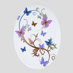 Blue & Purple Butterflies Ornament (Oval)