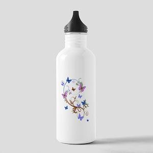 Blue & Purple Butterflies Stainless Water Bottle 1