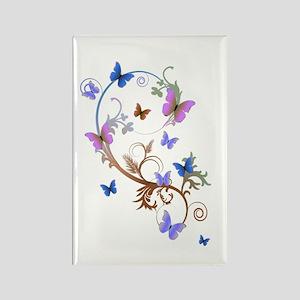 Blue & Purple Butterflies Rectangle Magnet