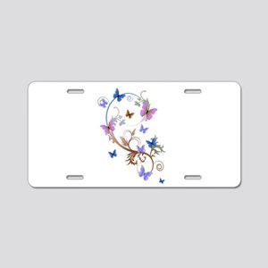 Blue & Purple Butterflies Aluminum License Plate