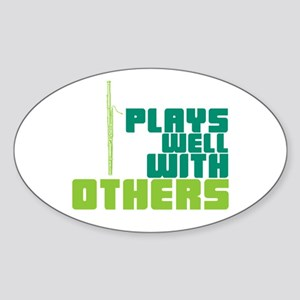 Bassoon Plays Well Sticker (Oval)