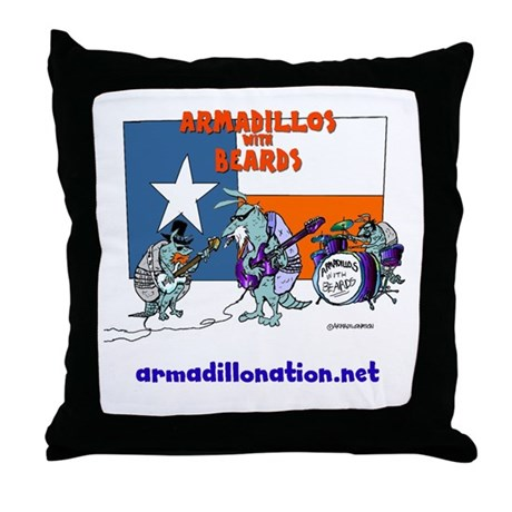 armadillos with beards Throw Pillow