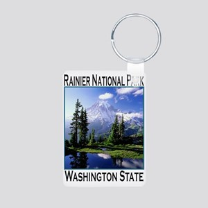 Mt Raineer National Park Aluminum Photo Keychain