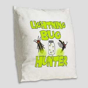 Lightning Bug Hunter Burlap Throw Pillow