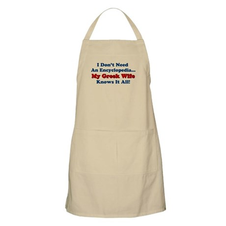 My Greek Wife Knows It All Apron