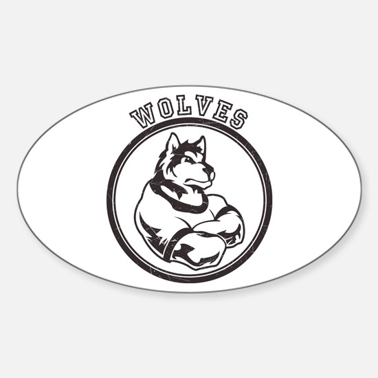 Wolf or Wolves Team Mascot Graphic Sticker (Oval)