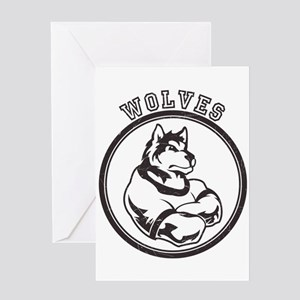 Wolf or Wolves Team Mascot Graphic Greeting Card