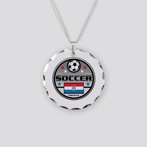Live Love Soccer Croatia Necklace Circle Charm