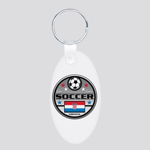 Live Love Soccer Croatia Aluminum Oval Keychain