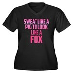 Sweat like a pig... Women's Plus Size V-Neck Dark