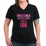 Sweat like a pig... Women's V-Neck Dark T-Shirt