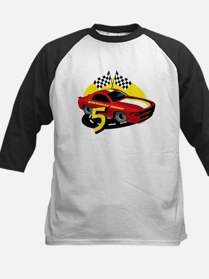 Race Car 5th Birthday Kids Baseball Jersey