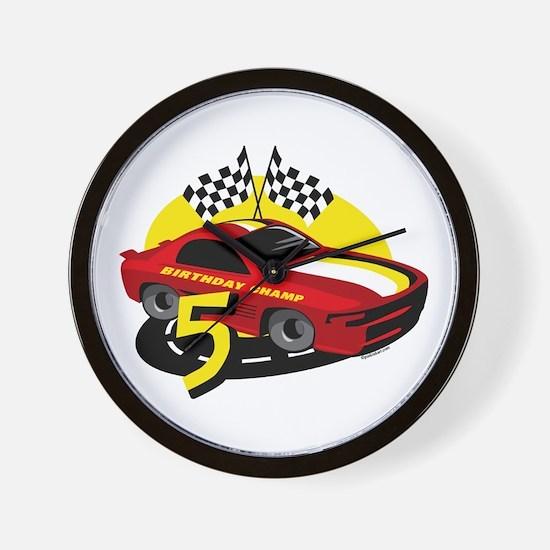 Race Car 5th Birthday Wall Clock