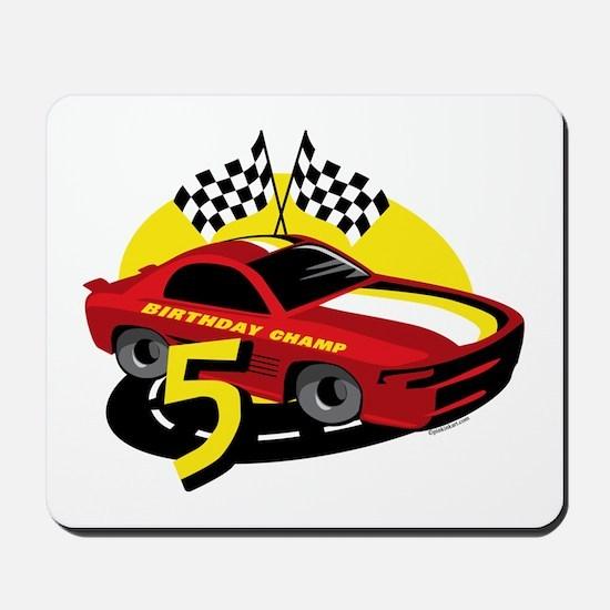 Race Car 5th Birthday Mousepad