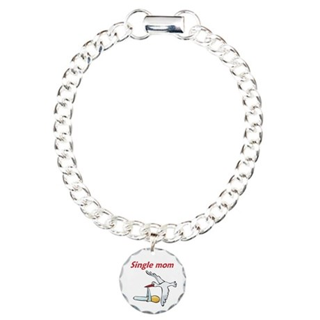 Single Mom Stork Charm Bracelet, One Charm
