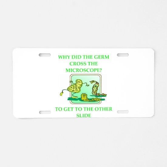 biology joke Aluminum License Plate