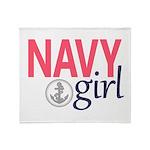 Navy Girl Throw Blanket