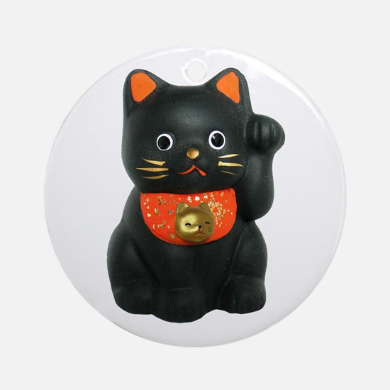 Black Lucky Cat Ornament (Round)