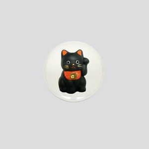 Black Lucky Cat Mini Button