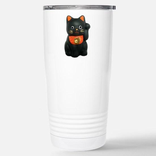 Black Lucky Cat Stainless Steel Travel Mug